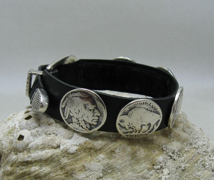 HANDMADE STERLING SILVER BRACELET SOLID 925 NATURAL LEATHER BISON BUFFALO CHIEF
